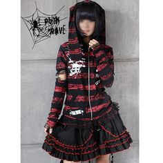 goth outfits for girls | Red and Black Gothic Punk Emo Clothes Hoodies Jackets Women SKU ...