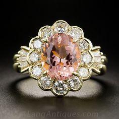 3.43 Carat Pink Topaz and  Diamond Ring