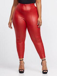 Scarlett Seam Front Faux-Leather Pants - Fashion To Figure Fashion Pants, Fashion Outfits, Leggings And Heels, Plus Size Inspiration, Fashion To Figure, Plus Size Pants, Voluptuous Women, Faux Leather Leggings, Skinny Legs
