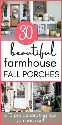 Our porches are one of the 1st things people see when they approach our home - so a perfect place to start your fall decor! To give you some inspiration, here are 30 stunning farmhouse fall porches, with a ton of decorating ideas! Also, I share my best 10 pro-tips to incorporate in decorating your own! Come see how! So easy! #fallporch #farmhouse #decoratingideas #decor #home Farmhouse Style Decorating, Porch Decorating, Decorating Tips, Farmhouse Decor, Wooden Pumpkins, Harvest Decorations, Cute Home Decor, Traditional Decor, Fall Diy