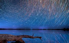 Star trails over the Australian outback.