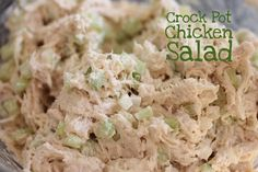 Crockpot chicken salad. The crockpot is a great tool to keep your house cool in the summer time without turning on the hot oven!