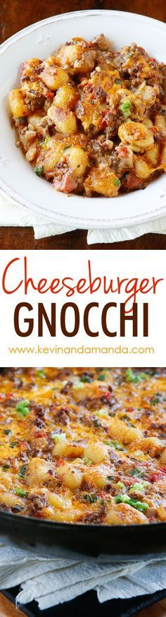 Cheeseburger Gnocchi — Easy Gnocchi Recipe — One Pot Meals Cheeseburger Gnocchi recipe! Pillowy soft potato dumplings (gnocchi) are toasted for a crunchy skin, but impossibly fluffy middle. Then they're simmered with seasoned beef and cheese for a Beef Dishes, Pasta Dishes, Food Dishes, Main Dishes, Gnocchi Dishes, Gnocchi Recipes, Pasta Recipes, Cooking Recipes, Recipes Dinner