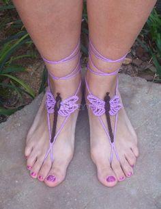 Sandalias descalzas de libélula bohemio púrpura patrón Crochet ...