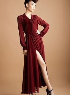 Sexy Style High-silt Bowknot Solid Color Chiffon Bohemian Dress