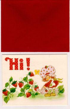 Vintage kenner american greetings strawberry shortcake greeting vintage kenner american greetings strawberry shortcake greeting card strawberry shortcake watering custard peeking at mouse birthday card pinterest m4hsunfo