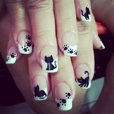 Pick your favorite nail art design and impress your friends this coming Halloween! Cat Nail Art, Cat Nails, Fancy Nails, Pretty Nails, Cat Nail Designs, Beautiful Nail Art, Holiday Nails, Nail Manicure, Nail Arts