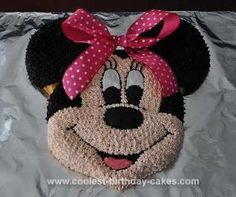 Homemade Minnie Mouse Birthday Cake Design: I made this Minnie Mouse Birthday Cake Design for my daughter's second birthday. I borrowed a friend's Wilton Mickey Mouse cake pan. I followed the directions