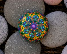 2.5x2.5 inch Hand painted mandala on river rock/mandala stone by Katy