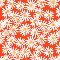 Orange daisies watercolor pattern by Abby Galloway Illustration Blume, Pattern Illustration, Deco Floral, Motif Floral, Design Floral, Surface Pattern Design, Pattern Art, Daisy Pattern, Graphic Pattern