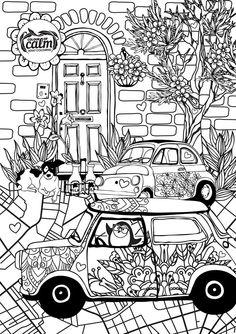 Street Scene Color Of Calm Coloring Book