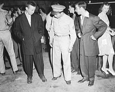 Zoot Suit Riots Gangs | Soldiers talking with zoot suiters
