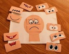 This Make a face resources has 12 different sets of eyes and mouths and a set of emotions vocabulary flash cards. Help children to learn about emotions. Emotions Game, Emotions Preschool, Emotions Activities, Feelings And Emotions, Toddler Activities, Preschool Activities, Teaching Emotions, Numbers Preschool, Montessori Preschool