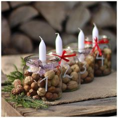Simple And Popular Christmas Decorations Table Decorations Christmas Candles Diy - Home, Room, Furniture and Garden Design Ideas Christmas Table Centerpieces, Christmas Candles, Diy Christmas Ornaments, Rustic Christmas, Simple Christmas, Christmas Wreaths, Christmas Crafts, Christmas Christmas, Advent Wreaths