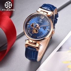 US $91.85 - STARKING Brand Ladies Mechanical Automatic Watches Women Rose Gold Bracelet Watch Hollow Clover Leather Dress Wristwatch AL0200