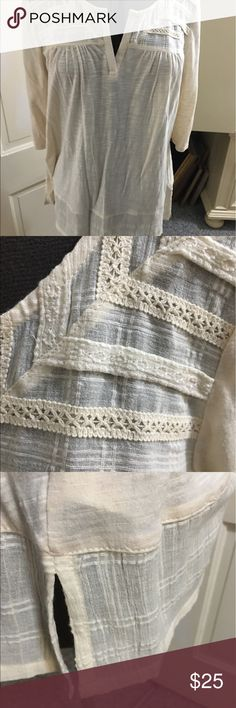 Beautiful Blouse Beautiful gauze type blouse with 3/4 length sleeves and Lacey decorations.  Never been worn!!! Lucky Brand Tops Blouses