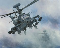 Here They Come. Two Apaches on approach. A painting by Derek Blois. derekblois.co.uk