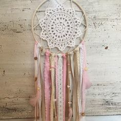 Pink and gold dream catcher  Baby girl nursery decor  Baby shower gift  Boho wall hanging  Dorm room decor