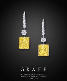 Graff Diamonds: Radiant Cut Yellow & Round White Diamond Earrings