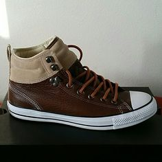 Leather sneakers Chocolate and camo mid converse with contrast shoe strings! It's a suede and leather combo! Converse Shoes Sneakers