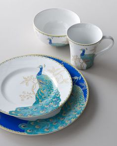 """Peacock Garden"" 16-Piece Dinnerware Service at Horchow."