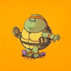 BROTHERTEDD.COM - xombiedirge: Famous Chunkies: TMNT Series by... Fat Cartoon Characters, Cartoon Art, Vintage Cartoon, Cartoon Pics, Fat Character, Character Design, Alex Solis, Capas Iphone 6, Geek Art
