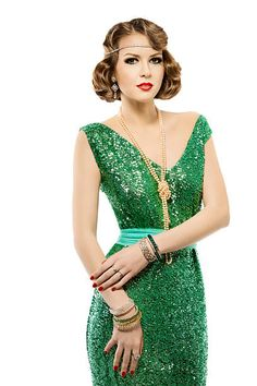 Woman retro fashion portrait, sparkle sequin dress, elegant vintage style stock photo