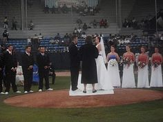 Baseball wedding ceremony