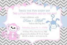 Twins Monkeys Baby Shower Invitation by AsYouWishCreations4u