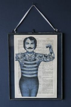 Antique Book Paper Prints - Blue Tattoo Gentleman