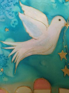 Peace Dove flying to Jane Dove Flying, Peace Dove, Textile Art, Rooster, Mermaid, Textiles, Hand Painted, Silk, Creative