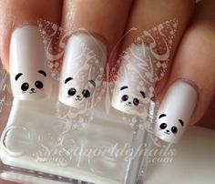 Cute Panda Face Nail Art Nail Water Decals Transfers Wraps