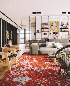 Metal shelves / rug