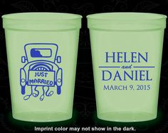 Just Married, Customized Nite Glow Cups, Vintage Car, Vintage Wedding, Glow in the Dark (13)