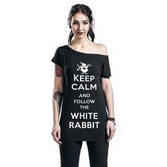 """Alice In Wonderland - Keep Calm And Follow The White Rabbit  - print op de voorkant - boothals - casual gesneden - Walt Disney  Geen paniek! Gewoon kalm blijven en het witte konijn volgen. Dat is de tip die op het """"Keep Calm And Follow The White Rabbit"""" girls shirt staat geprint. Naast de grappige tekst en de coole afbeelding van het konijn, heeft het shirt ook een mooie boothals."""