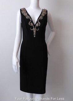 Amen Black Size 42 Body Con Dress With Swarovski Crystals  New With Tags