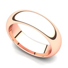 14k Rose Gold 6mm Domed Plain Wedding Band Ring >> Quickly view this special  product, click the image : Wedding Rings