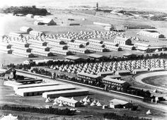 The POW Camp on Green Point Common in 1900. The Mouille Point (not Green Point) lighthouse can be seen top centre