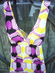 Size Medium Dress Purple and Yellow cool by Savebygoinggreen