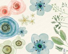 Watercolor flowers hand painted ranunculus roses от GrafikBoutique
