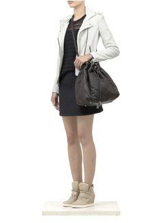 IRO - 'Han' leather biker jacket | White Leather Jackets | Womenswear | Lane Crawford