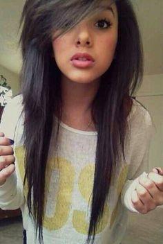 Straight black hair.
