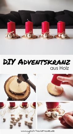 DIY Adventskranz aus Baumscheiben und Holzperlen selber machen für eine gemütliche Weihnachtszeit. In wenigen Schritten selber basteln. Die DIY Anleitung findest du auf Yeah Handmade.