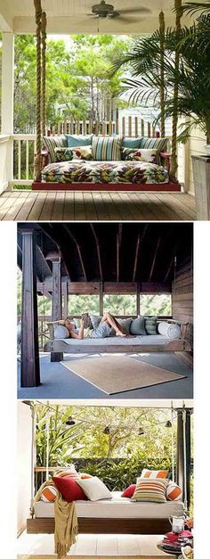 A Porch Swing Daybed and other things for my dream house. I don't need everything on this list, but an indoor slide, outdoor kitchen, huge window seat, and a fireplace on my porch are all high on my list. Outside Living, Outdoor Living, Veranda Design, Outdoor Spaces, Outdoor Decor, Outdoor Swings, Outdoor Daybed, Interior Exterior, My Dream Home