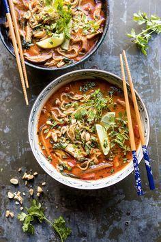 Keto 30 Minute Thai Peanut Chicken Ramen (sub SF honey and shirataki noodles) Easy Soup Recipes, Dinner Recipes, Healthy Recipes, Healthy Food, Thai Peanut Chicken, Asian Recipes, Ethnic Recipes, Best Instant Pot Recipe, Gourmet