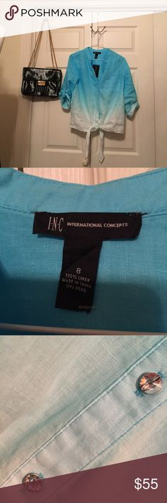 NWT INC blue/white top Blue/white hombre with roll up tab sleeves. Size 8 linen top. Smoke free hm. INC International Concepts Tops Button Down Shirts