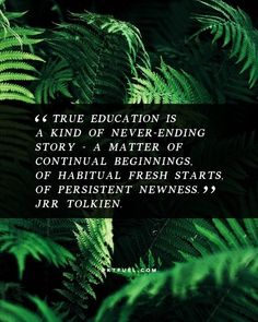 True education is a kind of never ending story — a matter of continual beginnings, of habitual fresh starts, of persistent newness. -JRR Tolkien