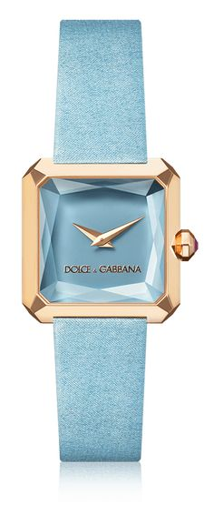 Dolce & Gabbana Sofia: women's watch with gold case, rubies, square case and pale blue satin strap. Available for online purchase. Mode Orange, Gold Watches Women, Ladies Watches, Himmelblau, Beautiful Watches, Luxury Watches, Fashion Watches, Women's Fashion, Cool Watches