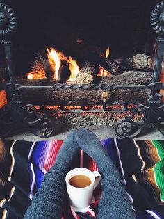 Coffee with fluffy socks in front of a roaring fire. - Team Golden Spa…
