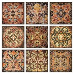 9 framed prints with Tuscan-inspired motifs.    Product: 9-Piece framed print set  Construction Material: MDF frame...